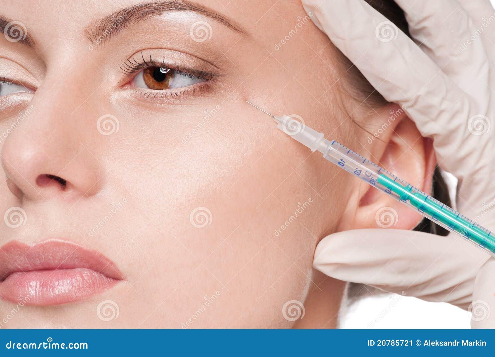 Kosmetische botoxinjectie in het schoonheidsgezicht