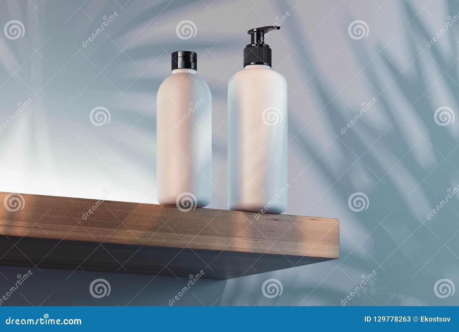 Kosmetische die Fles voor room, lotion wordt geplaatst Lege plastic containers het 3d teruggeven