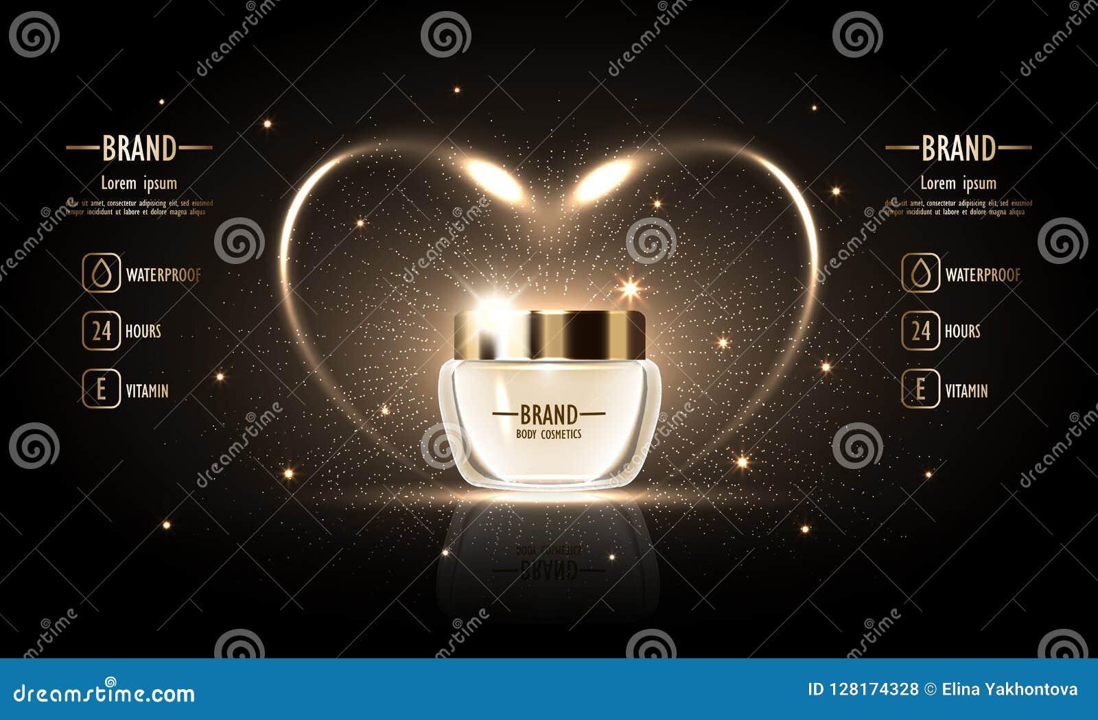 Kosmetische Reihe, erstklassige Luxuscreme für den Körper für Hautpflege, Schablone für Designposter, Fahnenmodell Auch im corel