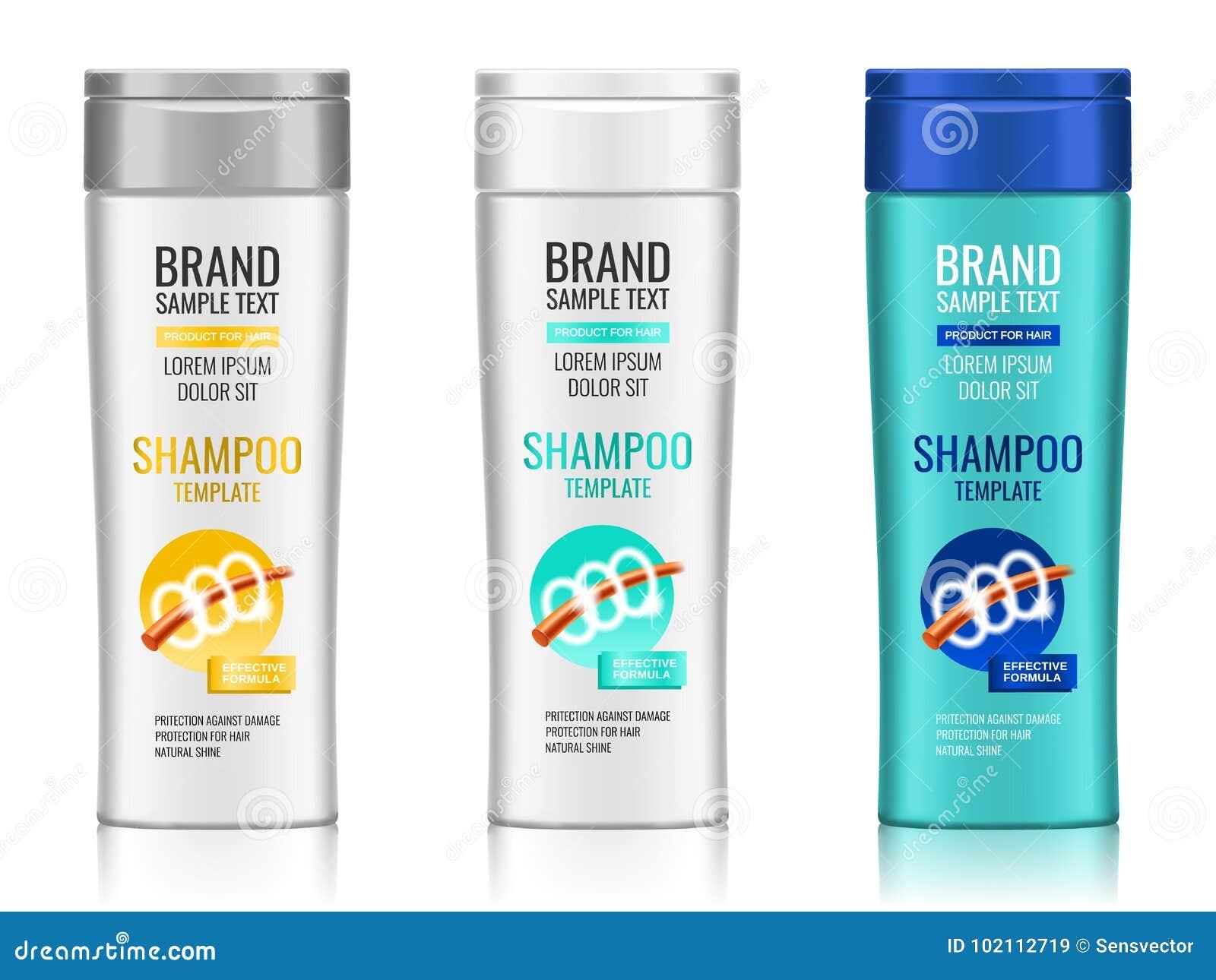 Kosmetische Verpackung, realistisches Plastikshampoo oder Duschgelflaschenschablone mit unterschiedlichem Design der Verpackung,