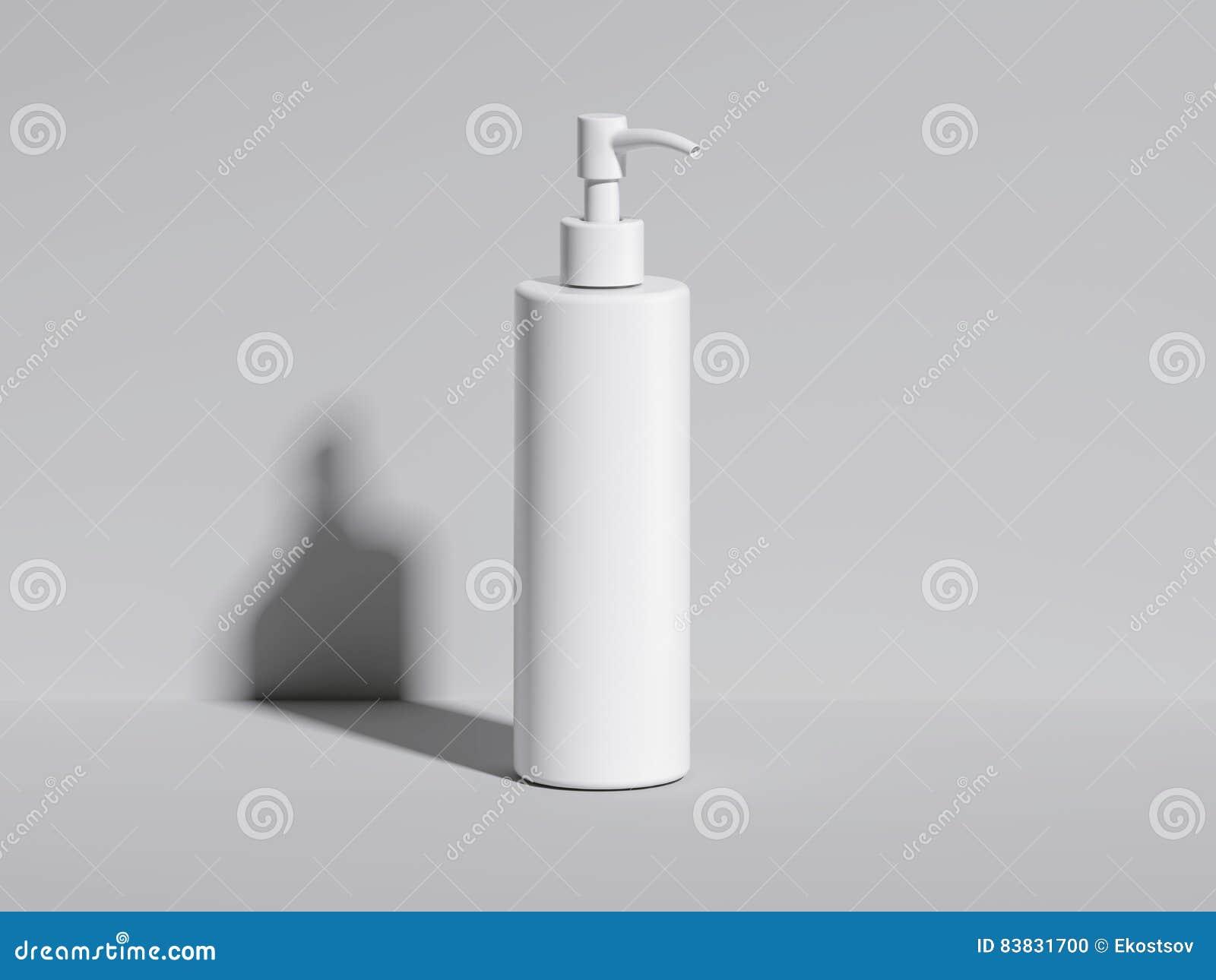 Kosmetische witte fles in heldere studio het 3d teruggeven