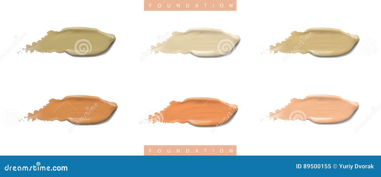 Kosmetischer Cremesatz der flüssigen Grundierung in den verschiedenen Farbfleck- Abstrichanschlägen Bilden Sie die Abstriche, die