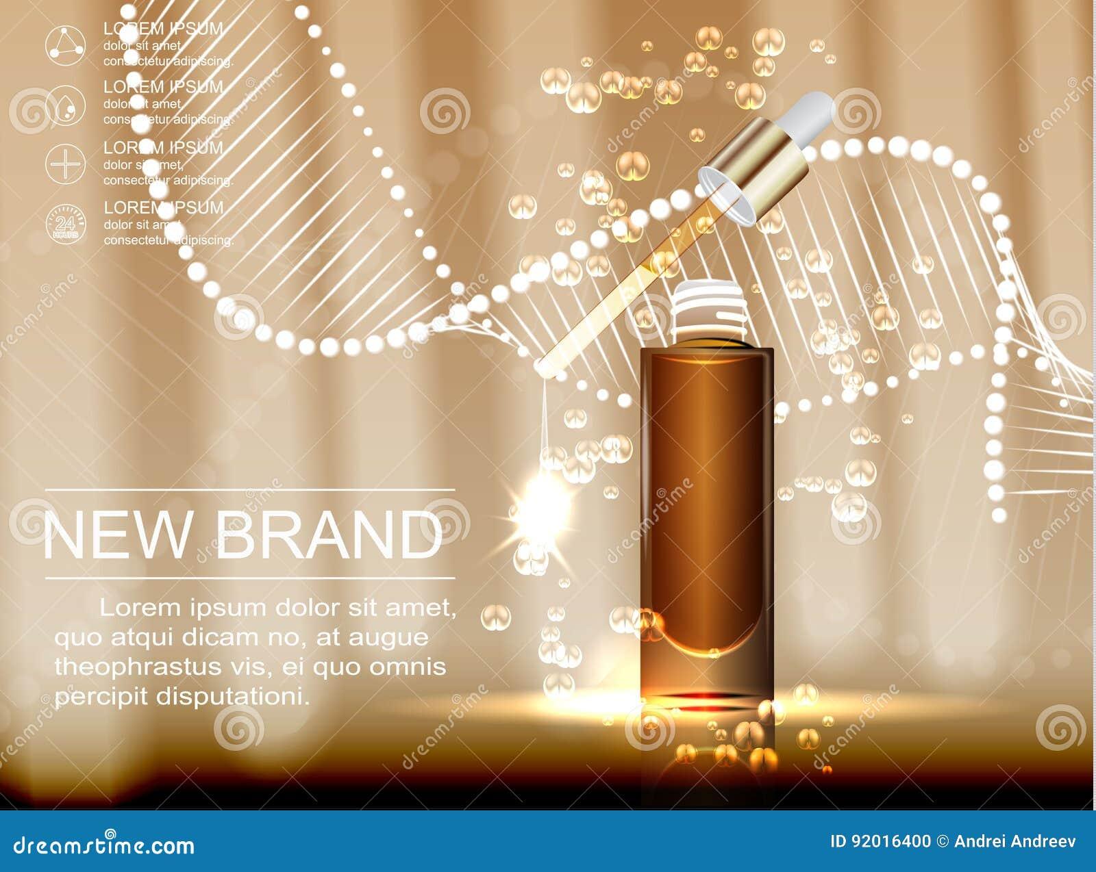 Kosmetisk annonsmall, glass liten droppeflaska med extraktolja som isoleras på brun bakgrund