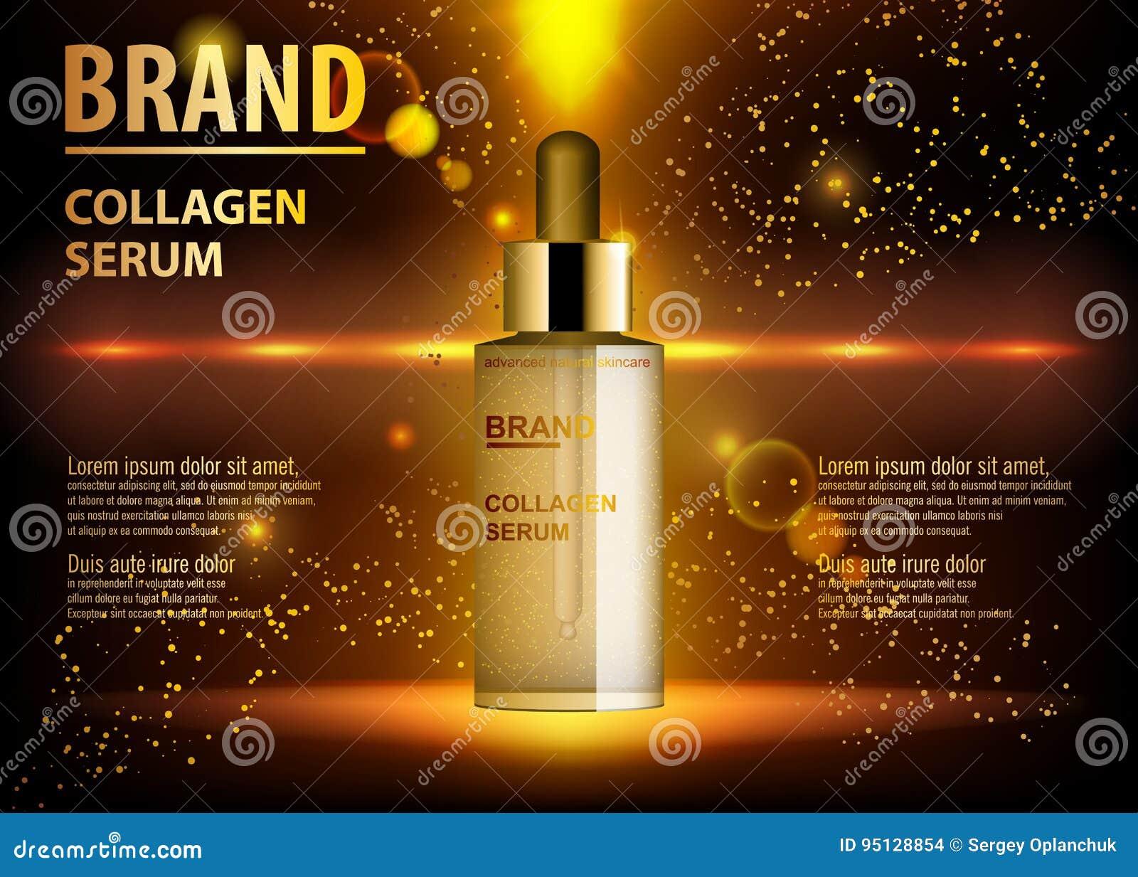 Kosmetisk skönhetsprodukt, annonser av den högvärdiga serumextraktflaskan för hudomsorg Guld- kosmetisk glasflaska med droppglass
