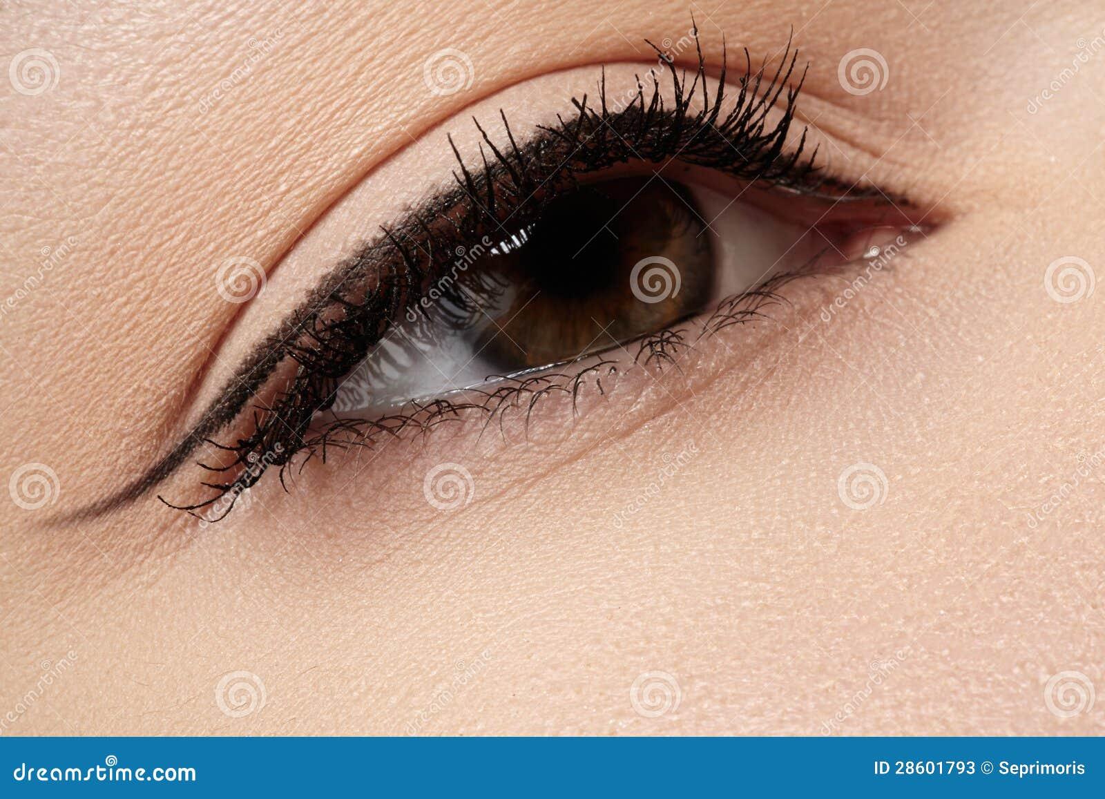 Kosmetyki. Makro- piękna oko z eyeliner makijażem