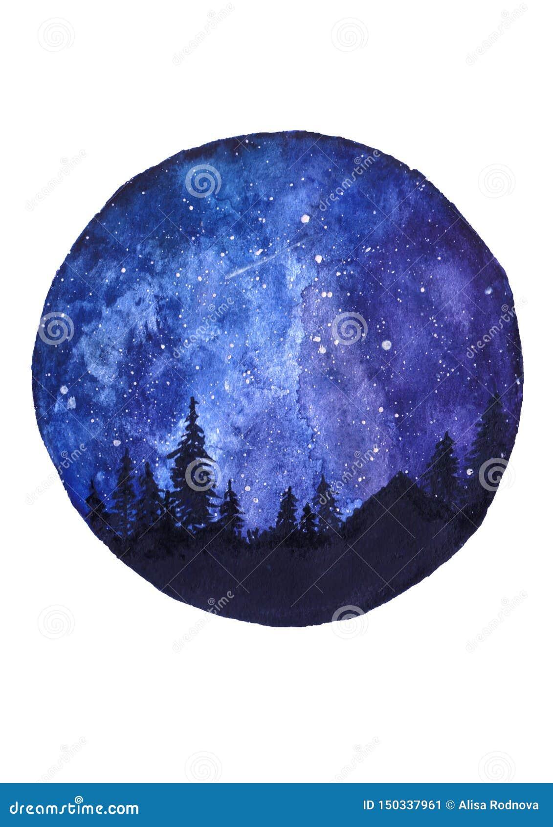 Kosmische hemel met sterren, hand-drawn waterverfillustratie