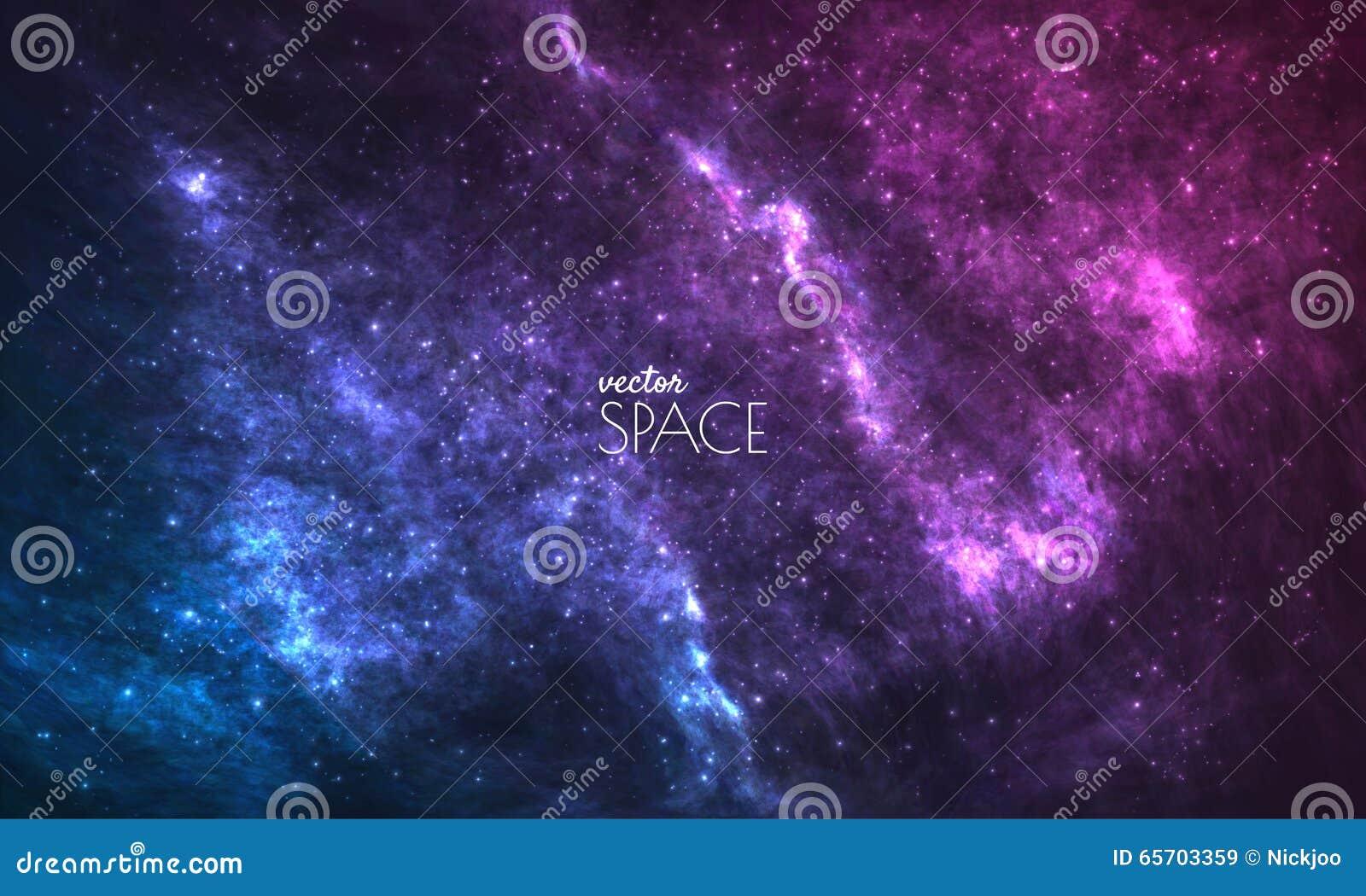 Kosmische Melkwegachtergrond met nevel, stardust en heldere glanzende sterren Vectorillustratie voor uw ontwerp, kunstwerken