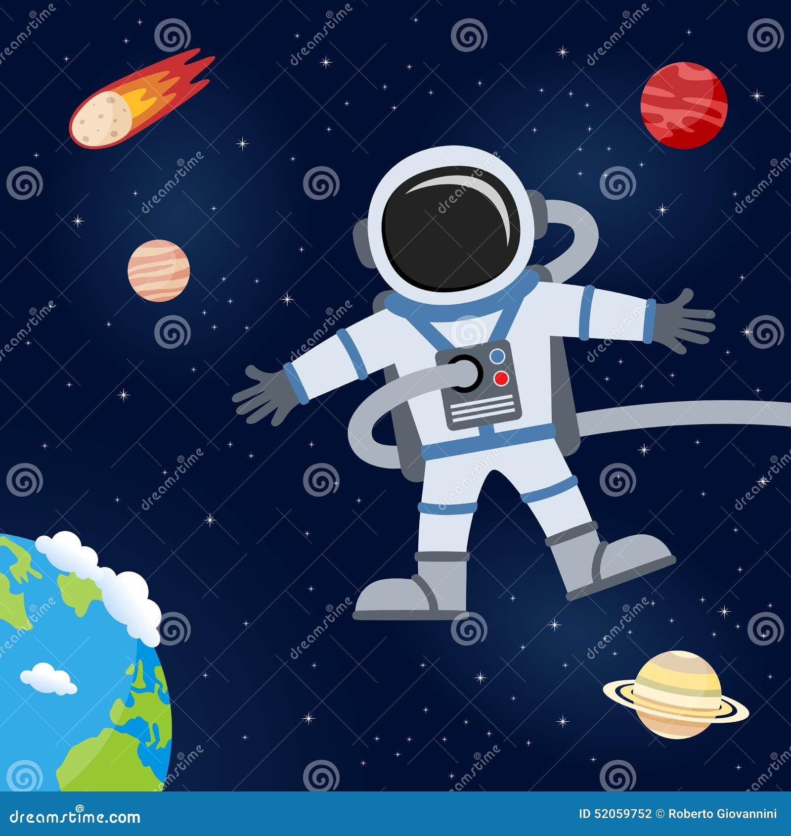 Kosmische ruimte met Astronaut & Planeten