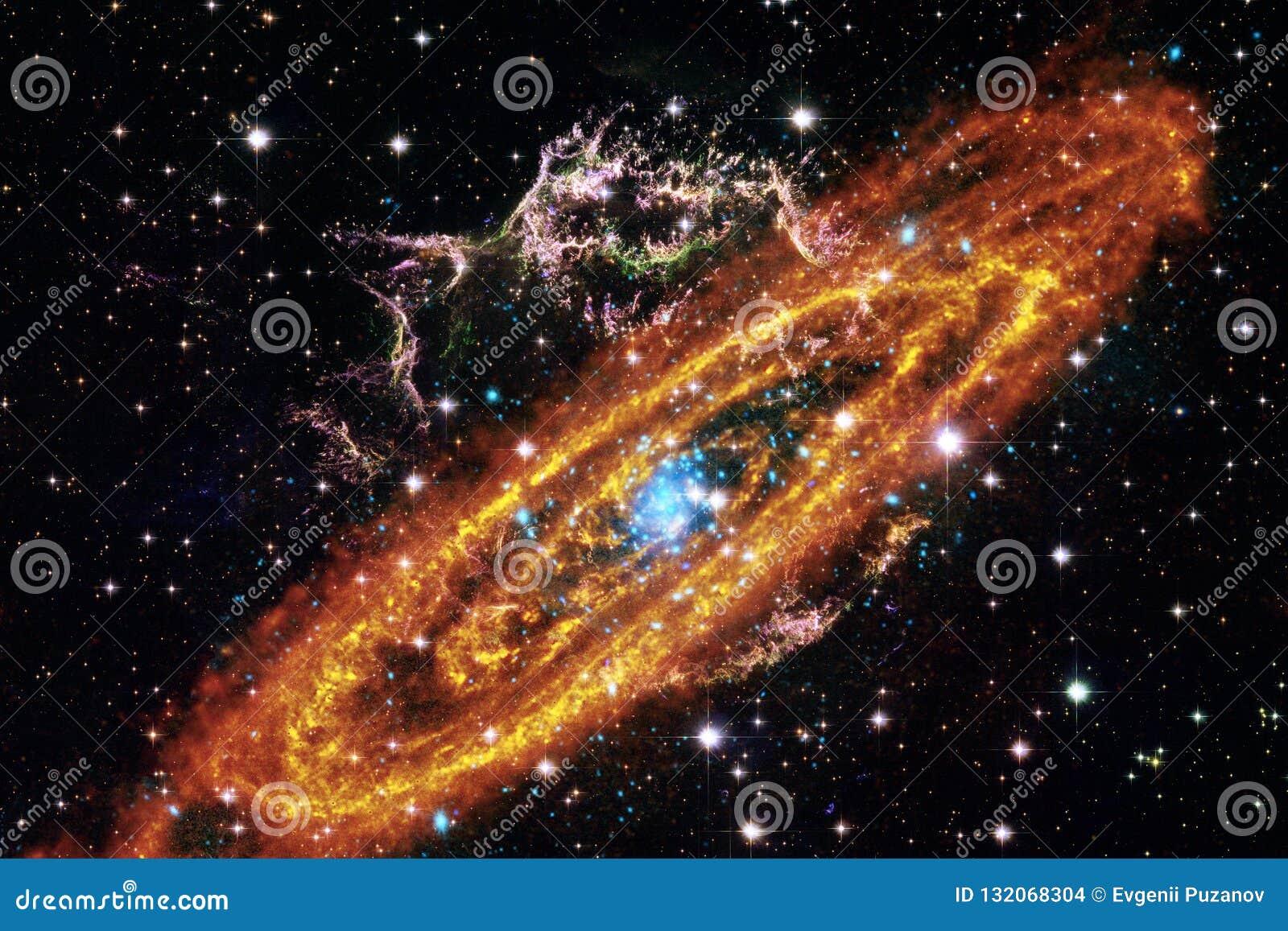 Kosmisk galaxbakgrund med nebulosor, stardust och ljusa stjärnor