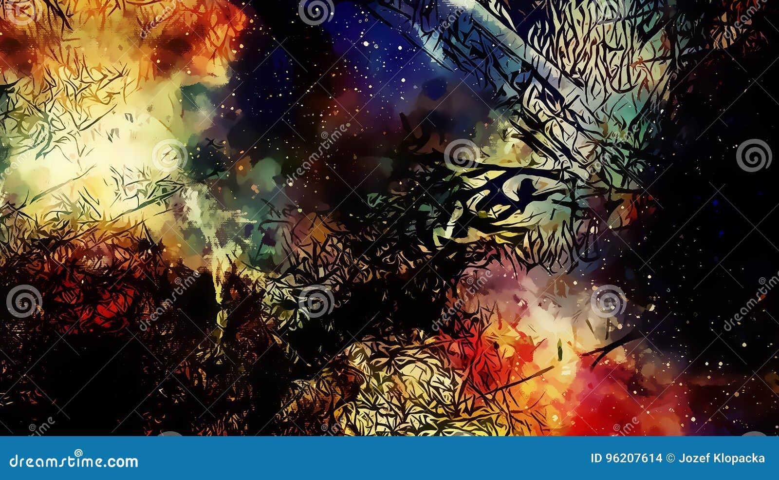 Kosmiskt utrymme och stjärnor, färgar kosmisk abstrakt bakgrund och svartFractalstrukturen