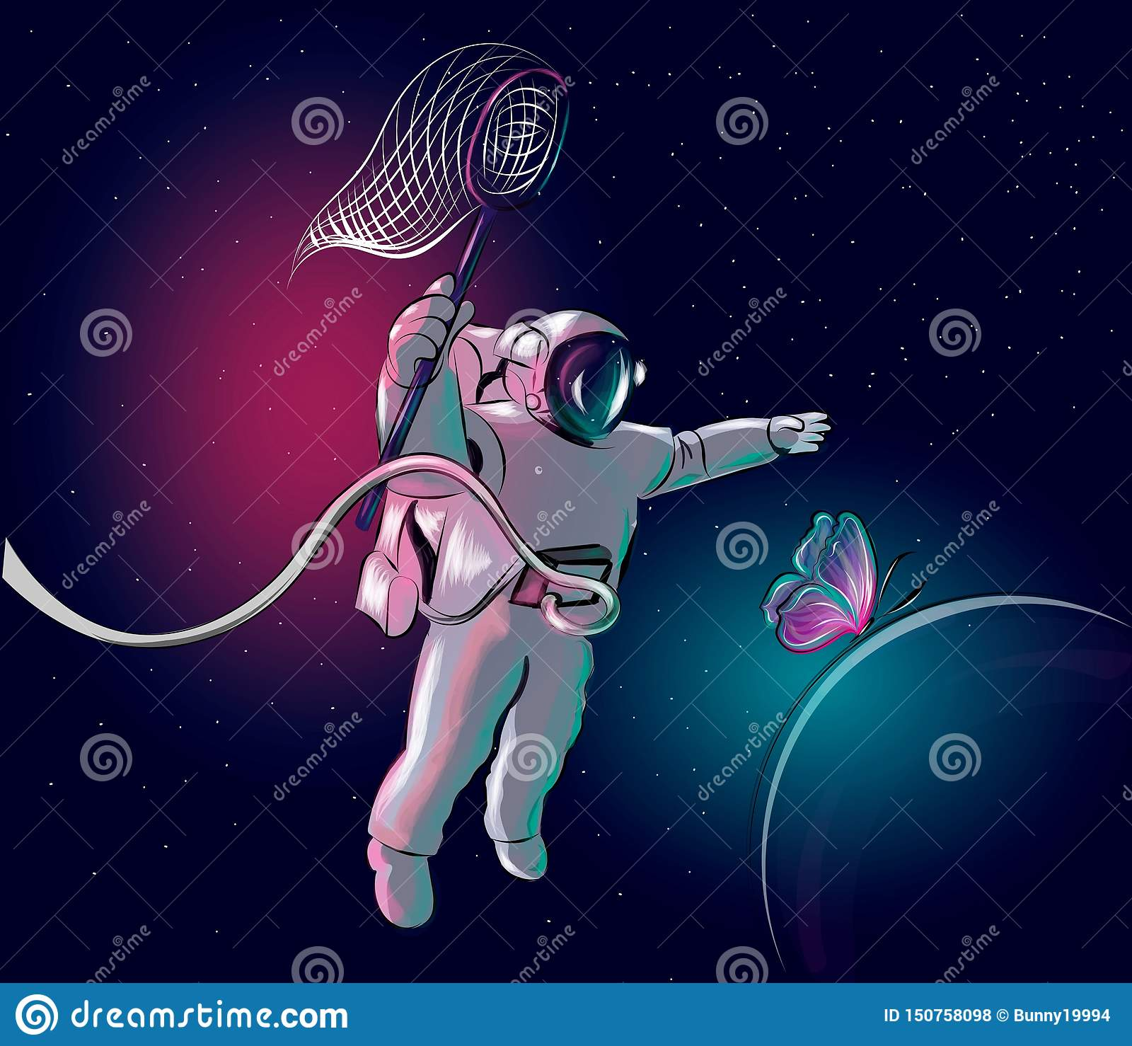 Kosmonautet jagar en fjäril Astronaut i avst?nd ocks? vektor f?r coreldrawillustration