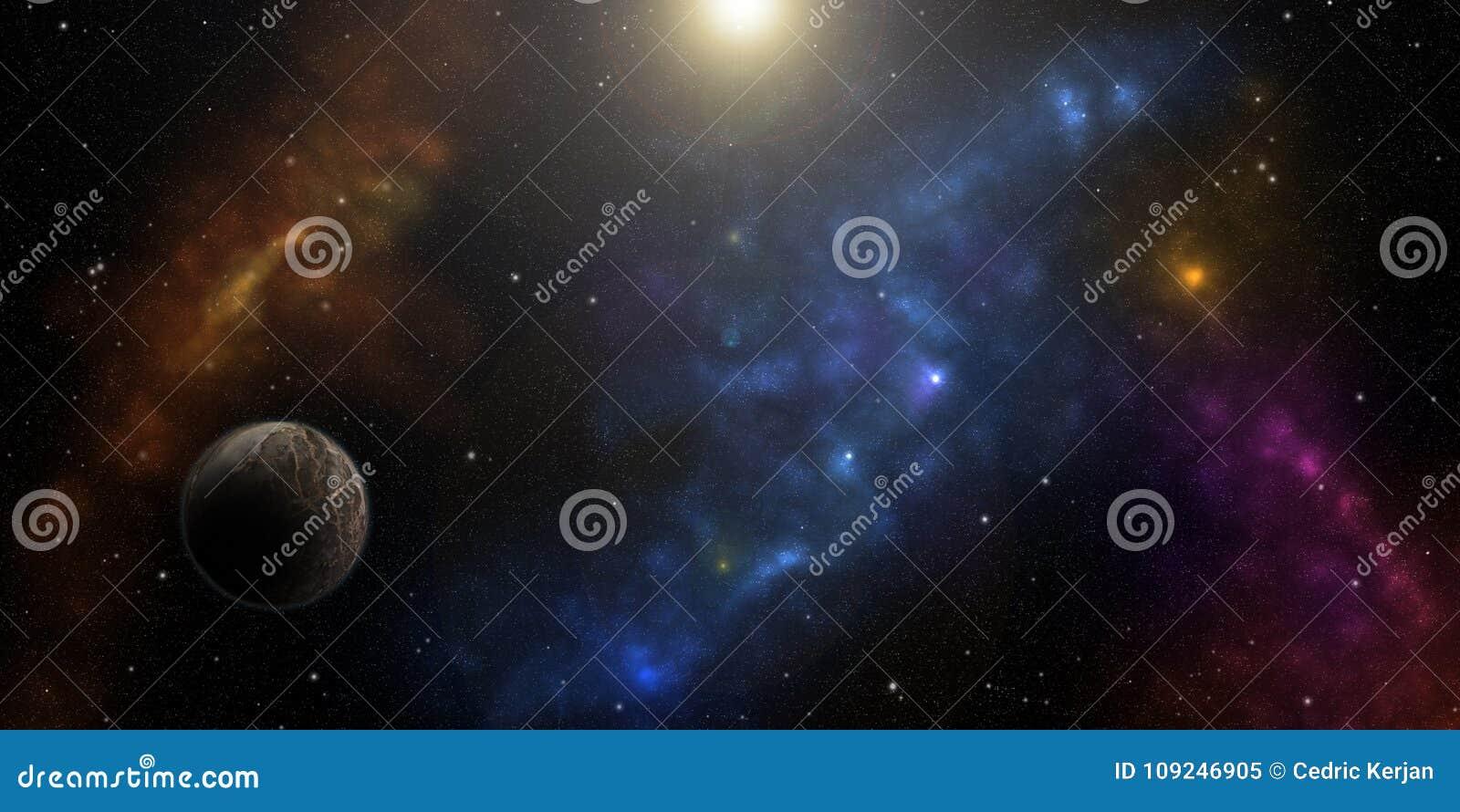 Kosmos, gwiazdy, nebulas i planety, Fantastyka naukowa tło
