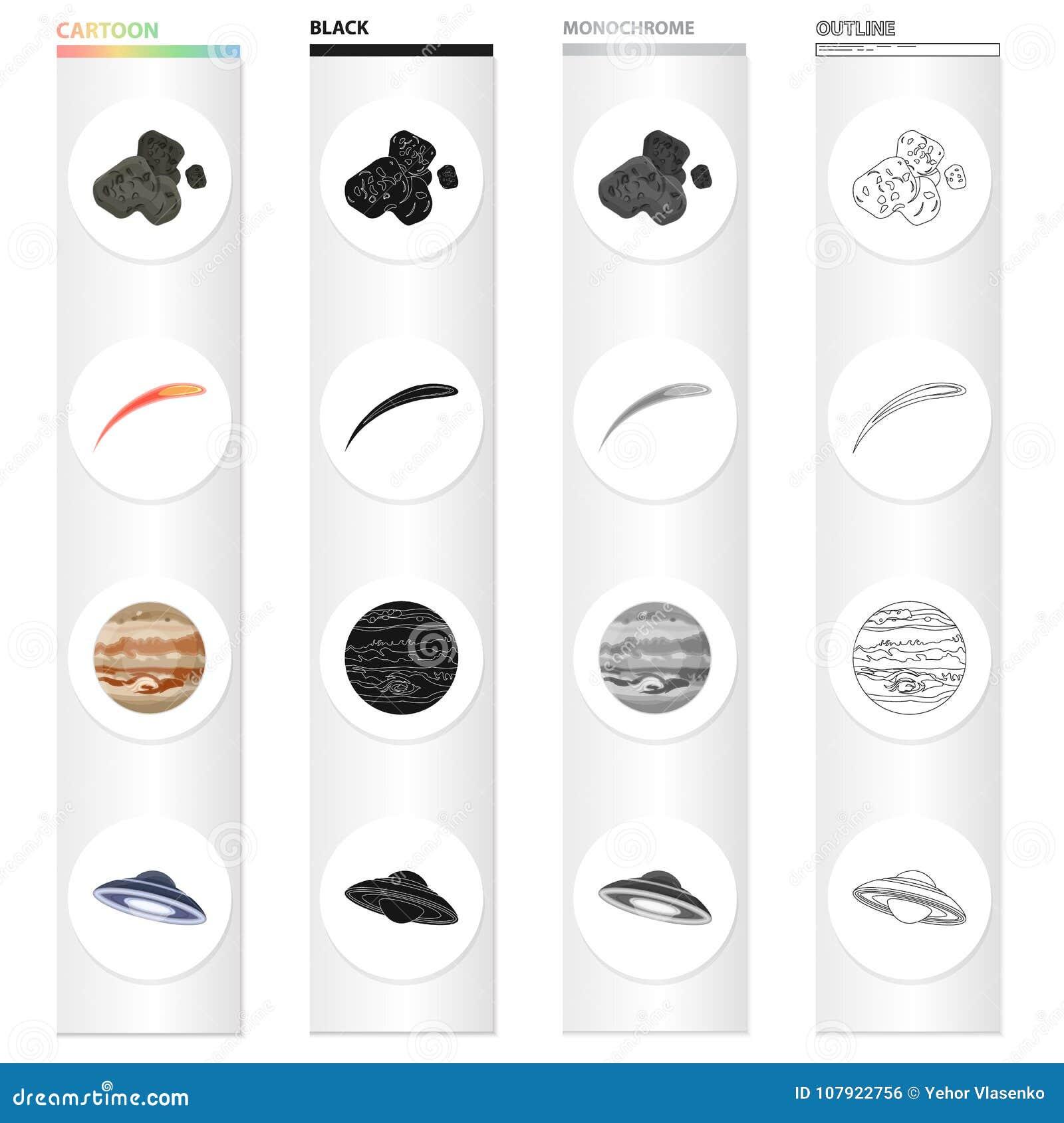 Kosmos, planeten, konstellation och annan rengöringsduksymbol i tecknad film utformar Elkraft lampa, universumsymboler i uppsättn