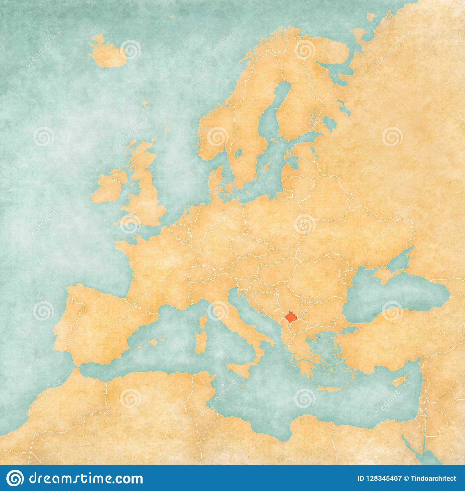 Map Of Europe Kosovo Stock Illustration Illustration Of Ocher
