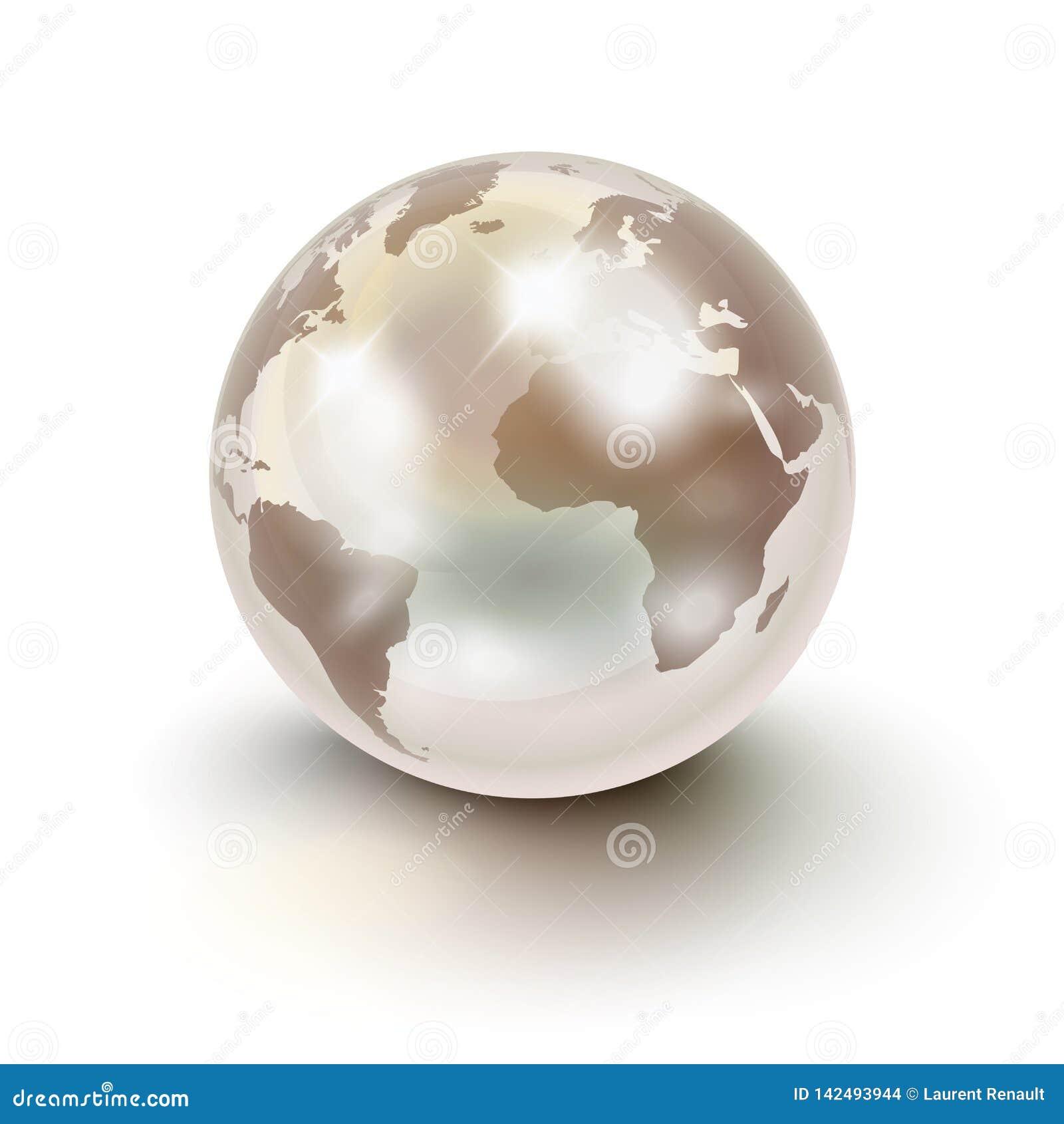 Kostbare Aarde zoals een witte parel over wit