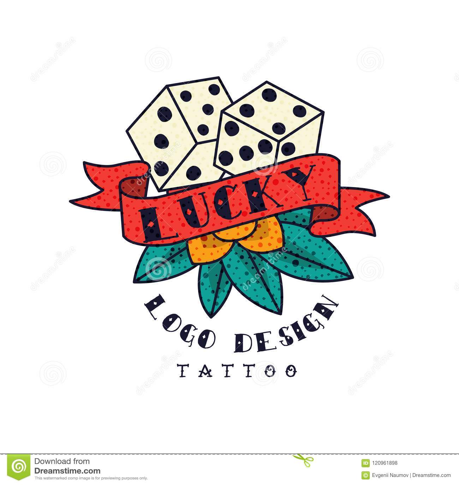 Kostka do gry i faborek z słowem Szczęsliwym, klasycznego Amerykańskiego stara szkoła tatuażu loga projekta wektorowa ilustracja