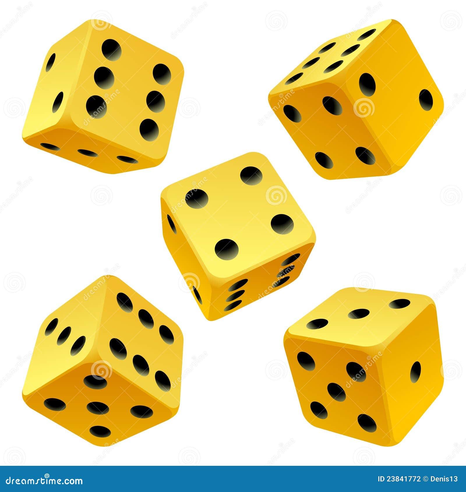 Kostka do gry target2275_1_ setu wektoru kolor żółty