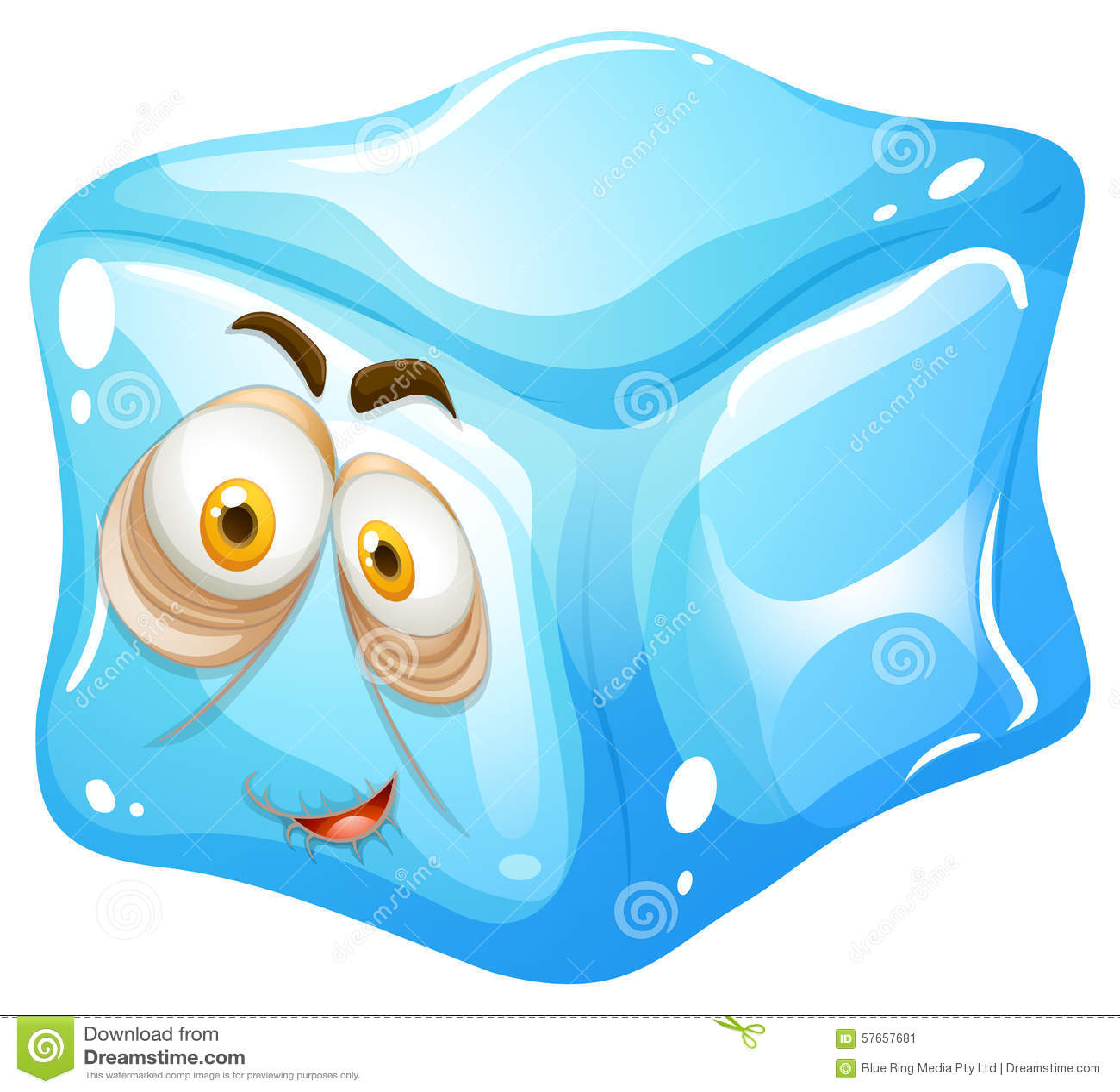 Kostka lodu z śpiącą twarzą