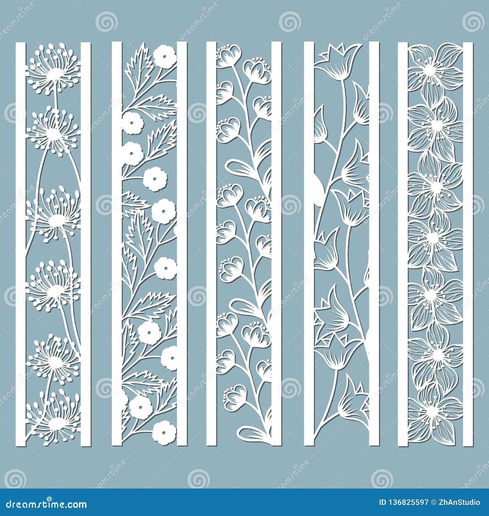 Kostki do gry i laseru rżnięci ornamentacyjni panel z kwiecistym wzorem dzwon, dandelion, orchidea, kwiaty i liście, Laser rżnięt