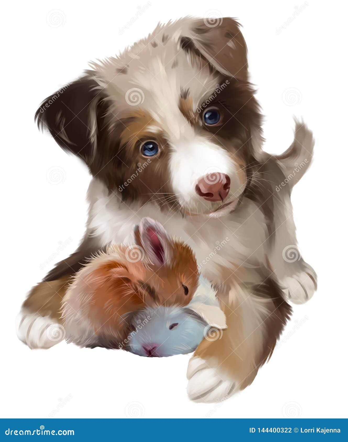 Kostrzewiasty pies i dwa królika który śpią adobe korekcj wysokiego obrazu photoshop ilości obraz cyfrowy prawdziwa akwarela