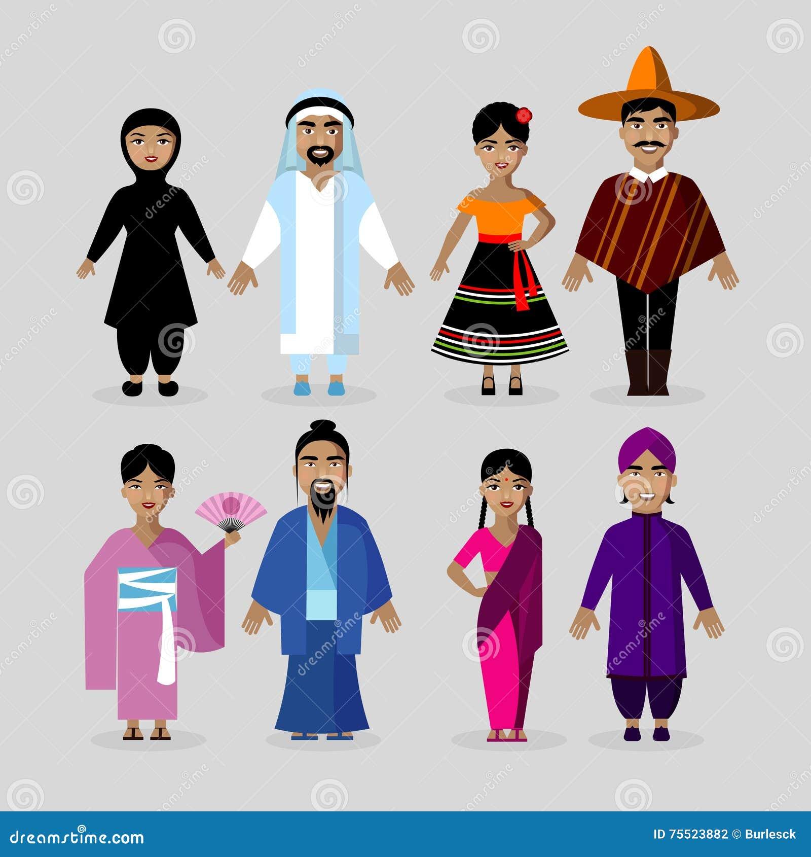 Kostymerar traditionellt folk Mexico Japan, Indien, Mellanösten