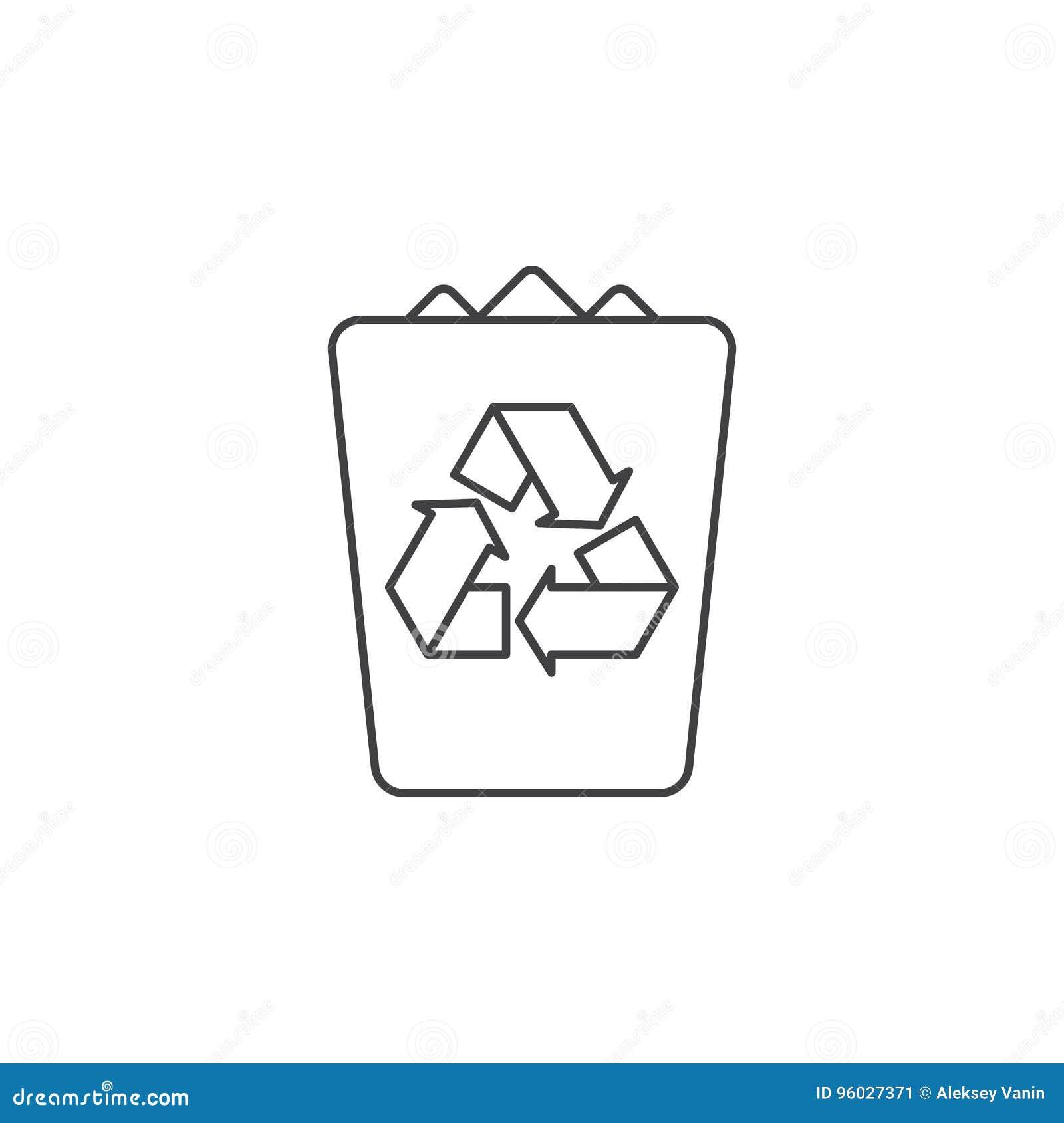 Kosz na śmieci cienka kreskowa ikona, śmieciarskiego konturu loga wektorowy illustrati