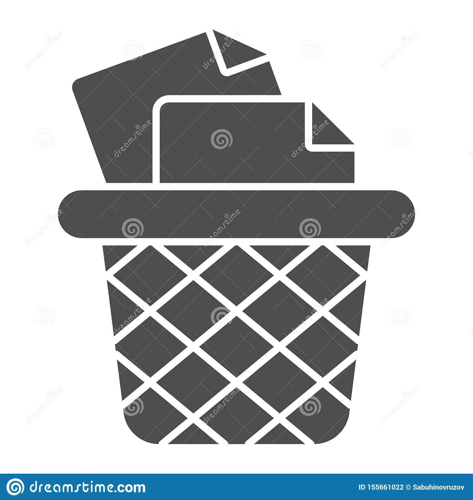 Kosz na śmieci dla papier bryły ikony Biurowego kubła na śmieci wektorowa ilustracja odizolowywająca na bielu Śmieciarski koszyko