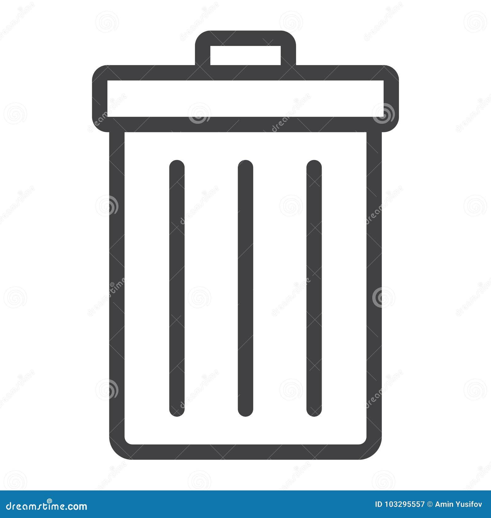 Kosz na śmieci kreskowa ikona, sieć i wisząca ozdoba, deleatur znak