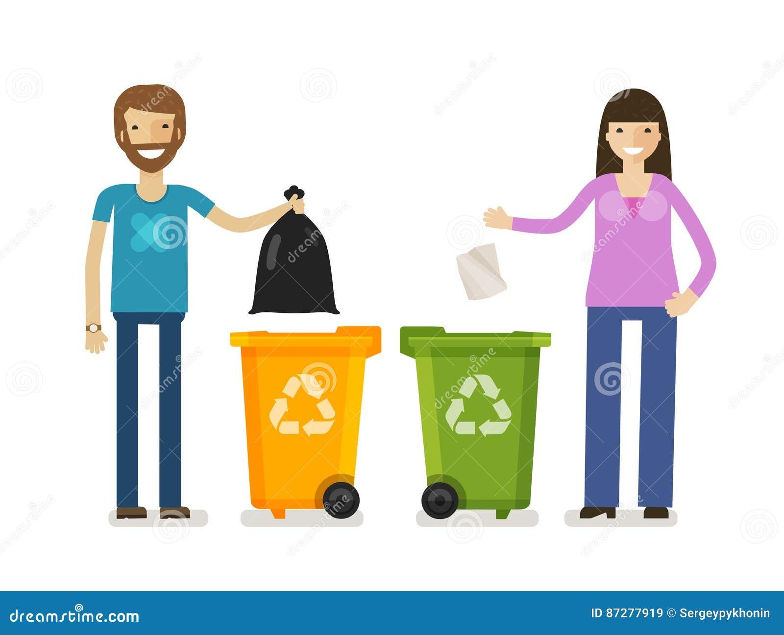 Kosz na śmieci, pojemnik na śmiecie w płaskim projekta stylu Ekologia, środowisko symbol, ikona obcy kreskówki kota ucieczek ilus