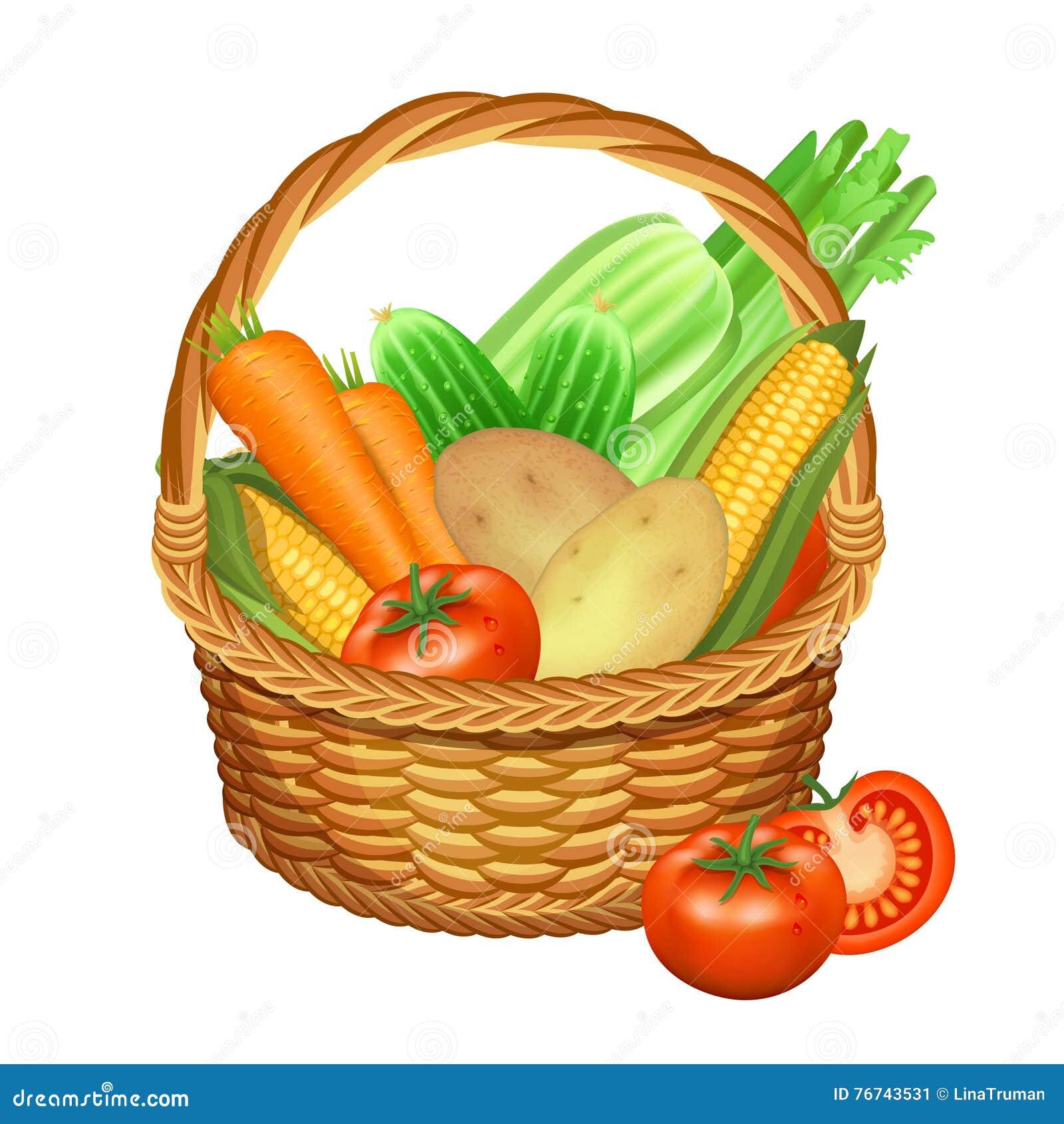 Kosz z warzywami na biel również zwrócić corel ilustracji wektora