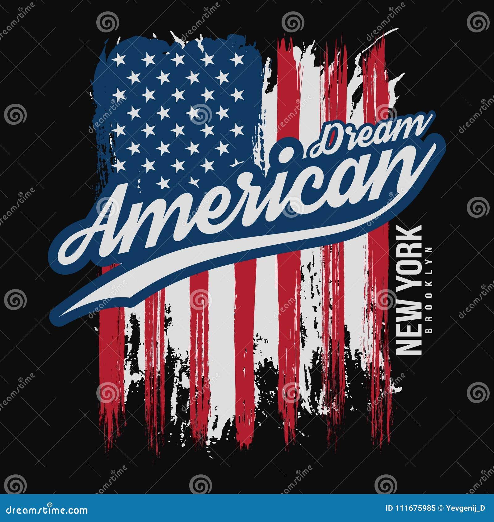 Koszulka graficzny projekt z flaga amerykańską i grunge teksturą Nowy Jork typografii koszulowy projekt