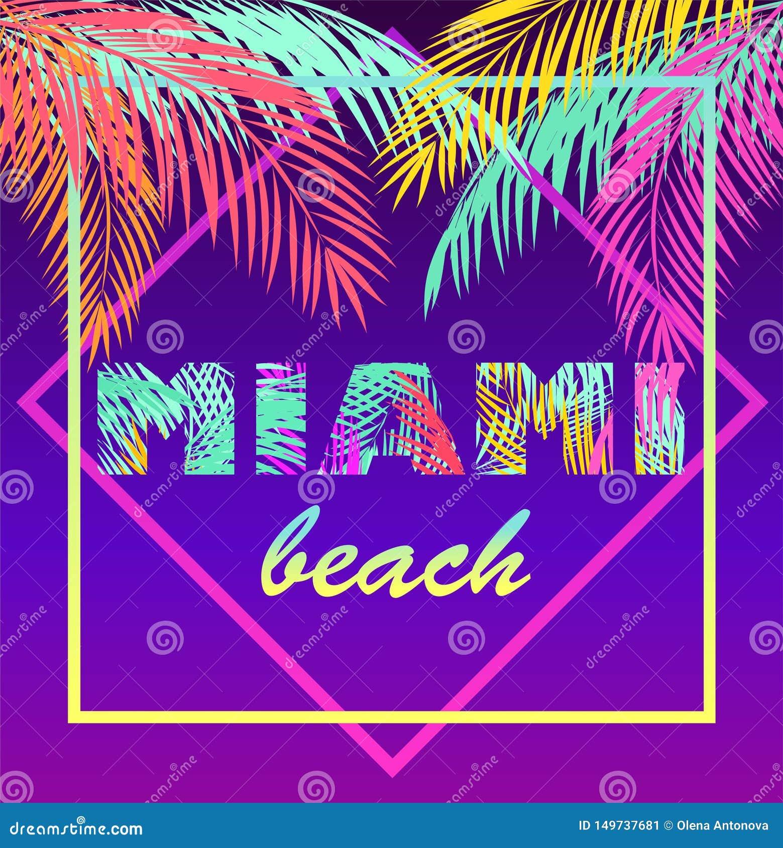 Koszulka neonowy fiołkowy druk z kolorowego Miami plaży literowania i kokosowej palmy liśćmi