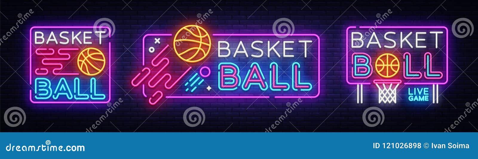 Koszykówka neonowego znaka kolekci wektor Koszykówka projekta szablonu neonowy znak, lekki sztandar, neonowy signboard, nocny