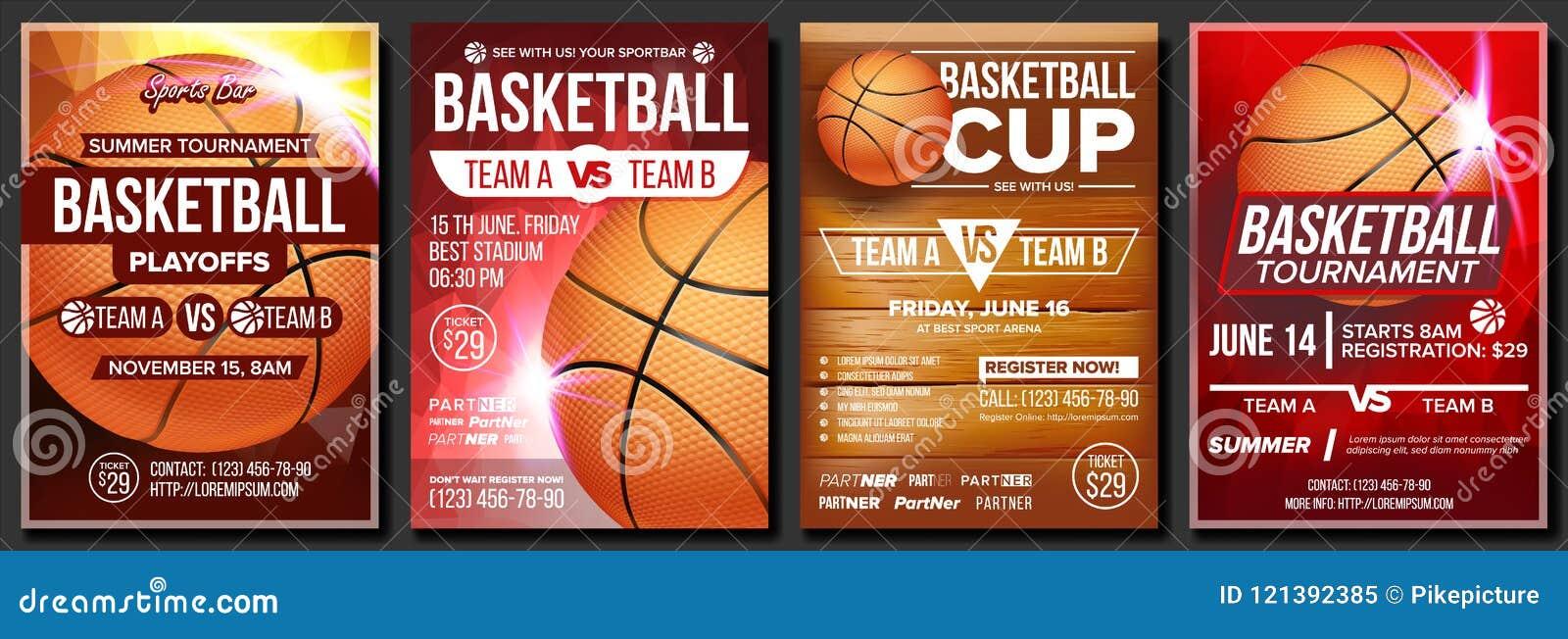 Koszykówka plakata Ustalony wektor Projektuje Dla sporta baru promoci tło białe odosobnione balowej koszykówki turniej Wydarzenia
