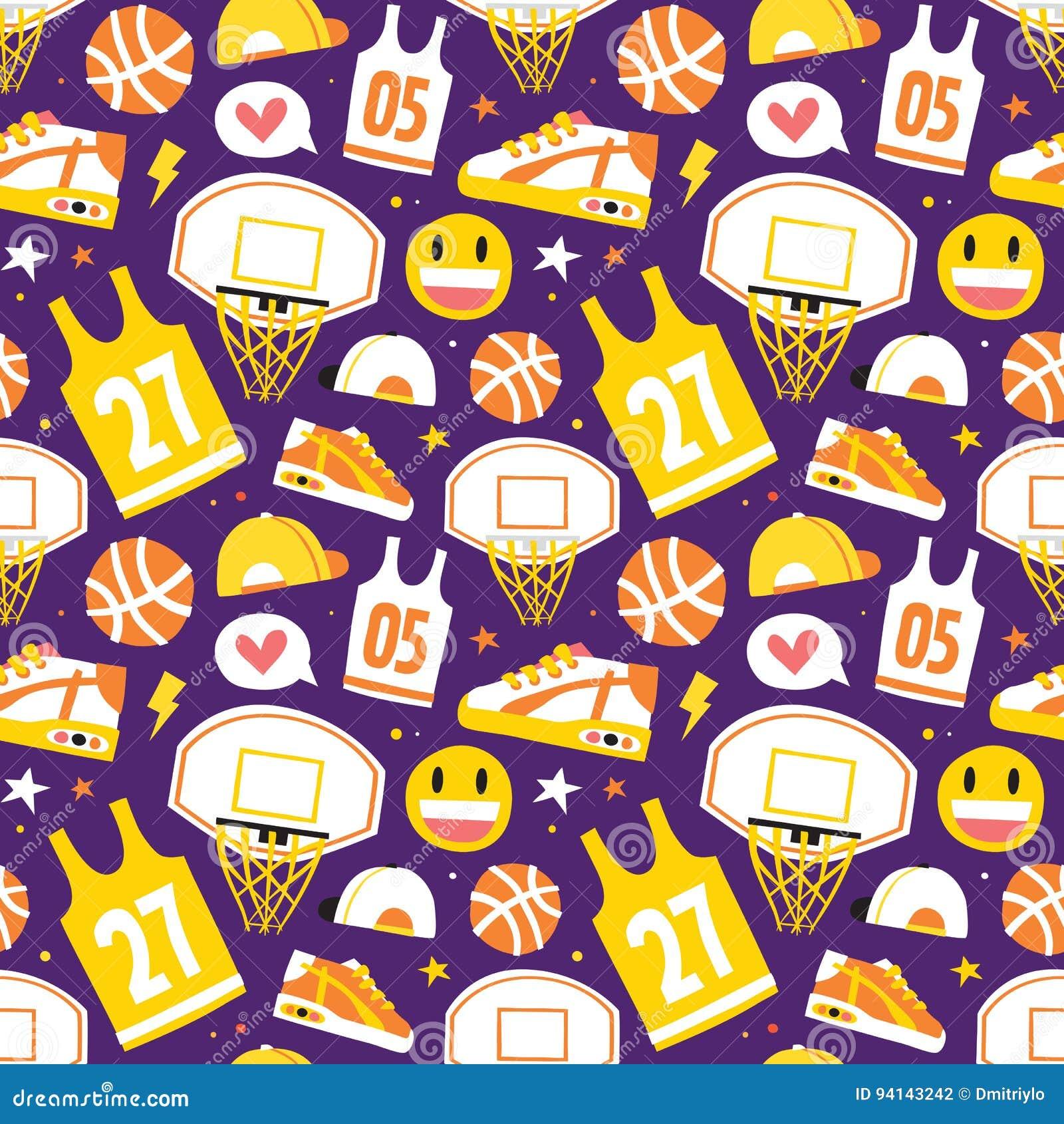 Koszykówki kreskówki przedmiotów wektoru wzoru ręki rysować bezszwowe purpury