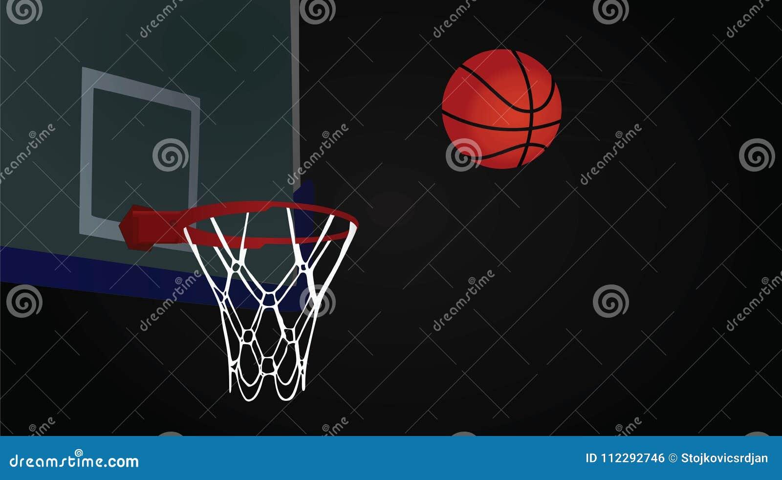 Koszykówki piłka na ciemnym tle i obręcz