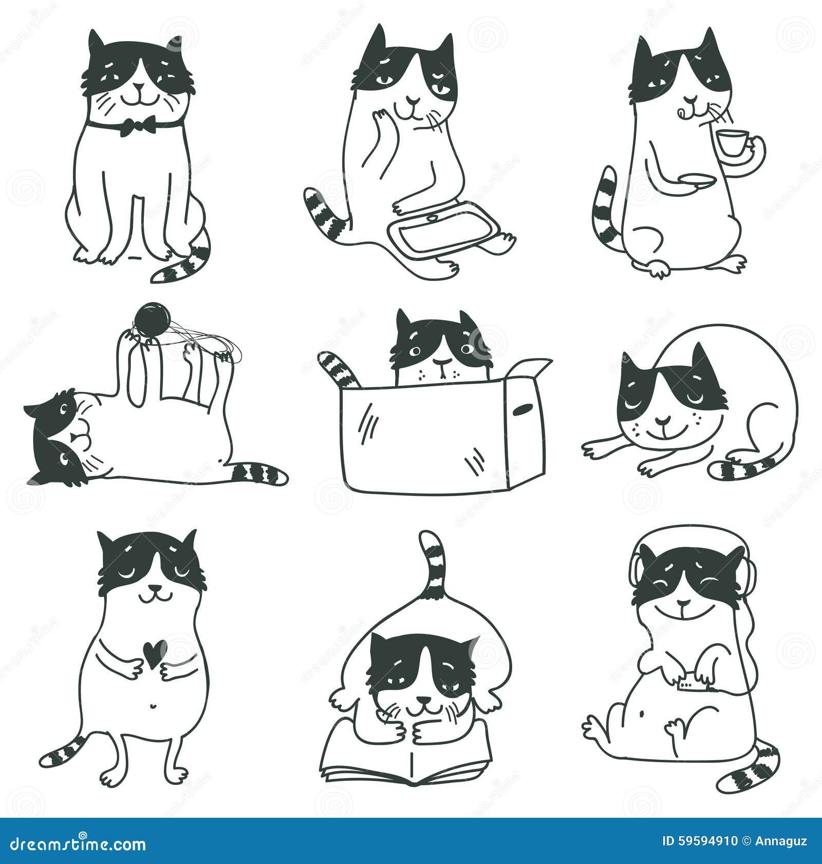 Kotów śliczny rysujący ręki ilustraci set