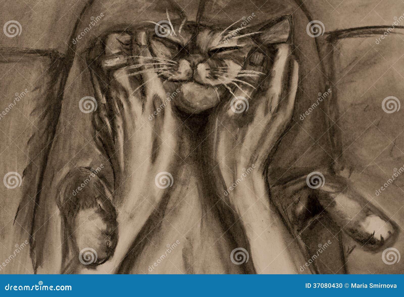 Download Kot ilustracji. Ilustracja złożonej z obrazek, arte, armada - 37080430