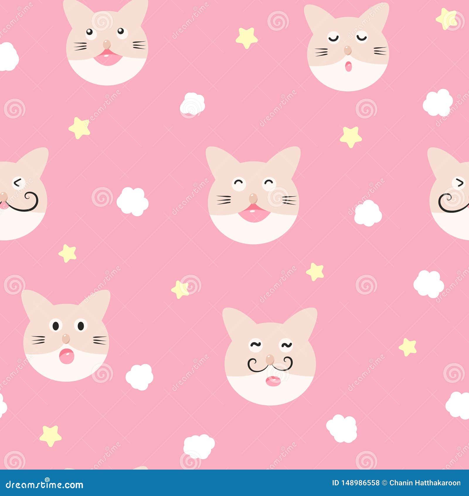 Kot, chmura i gwiazda, ?licznego dziecka uroczy bezszwowy wz?r, pi?amy poj?cie dla dzieci?stwa t?a tekstury wektoru