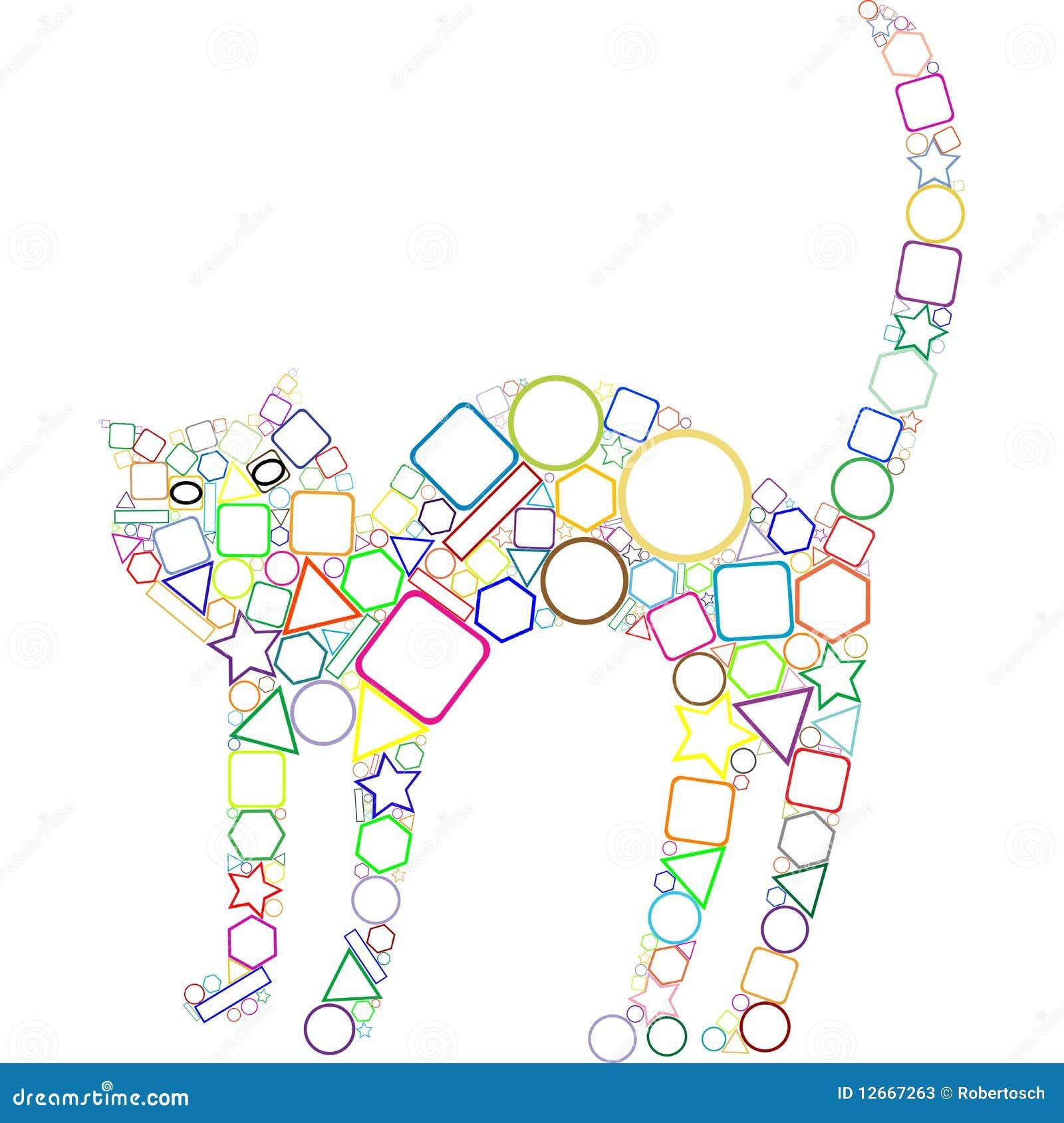 Kot Geometryczny Ilustracja Wektor Ilustracja Złożonej Z Kontur