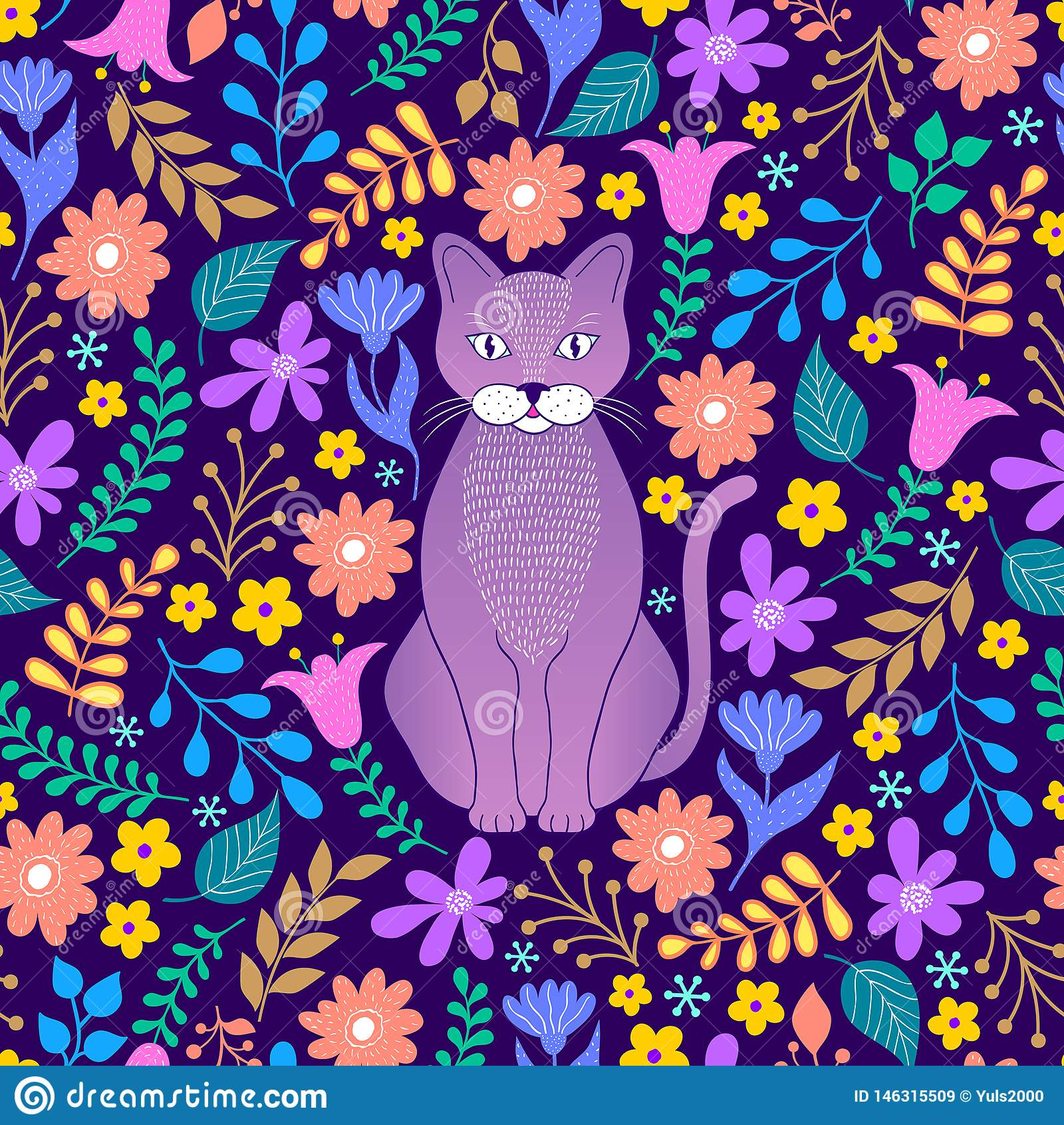Kot i tropikalni kwiaty