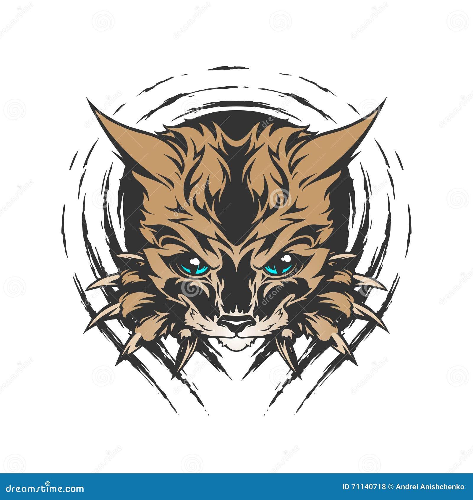 Kot ilustracja w tatuażu stylu