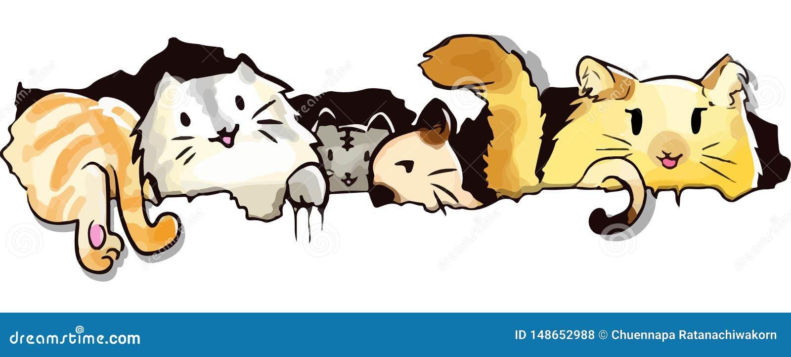Kot kresk?wki kawaii ?liczny styl