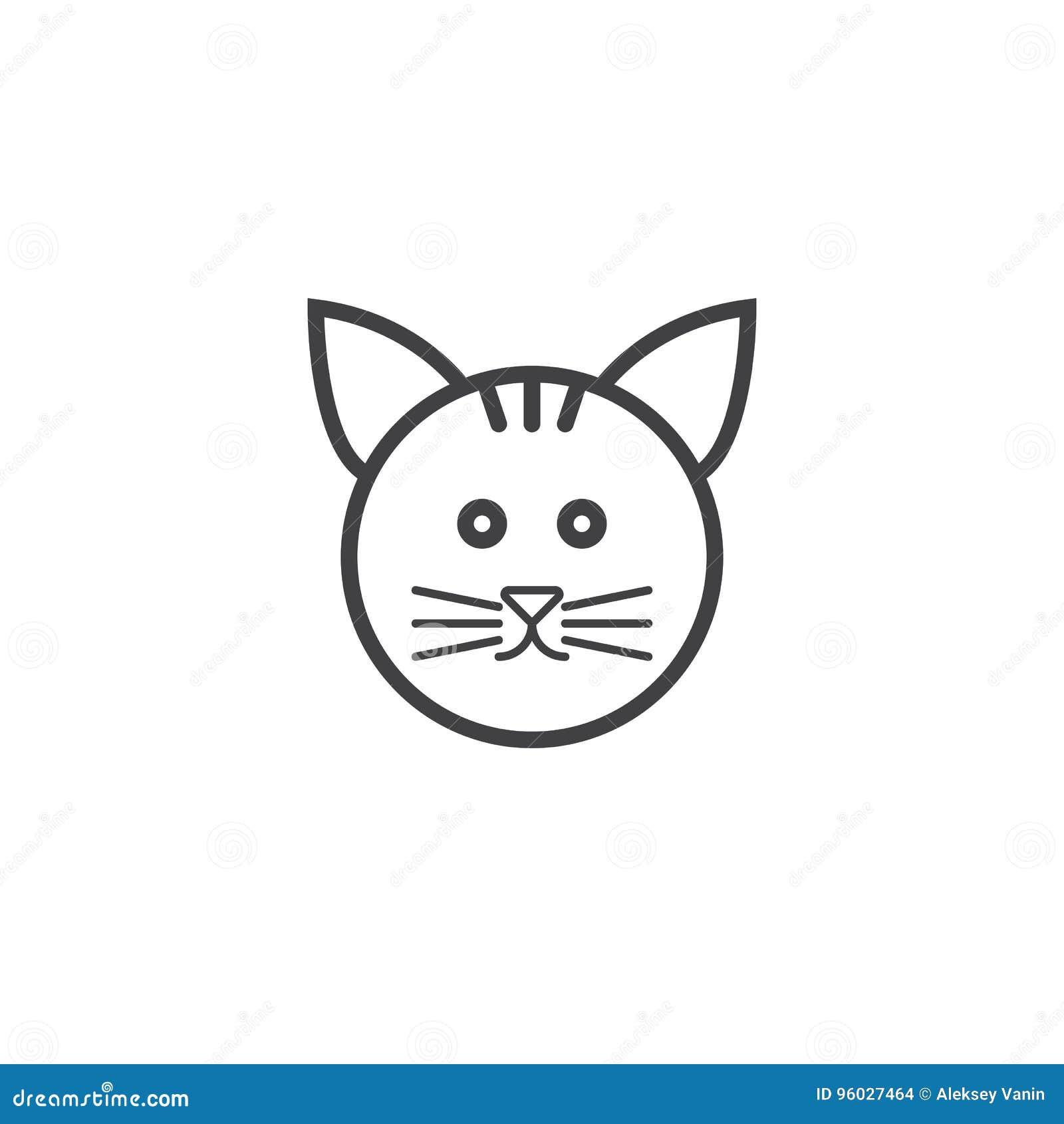 Kot linii ikona, zwierzę domowe konturu loga wektorowa ilustracja, liniowy pict