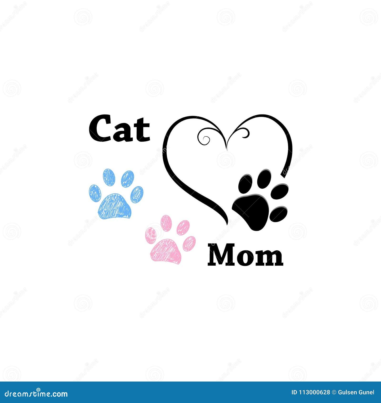 Kot mama Różowy i błękitny łapa druk z sercami szczęśliwa dzień matka s