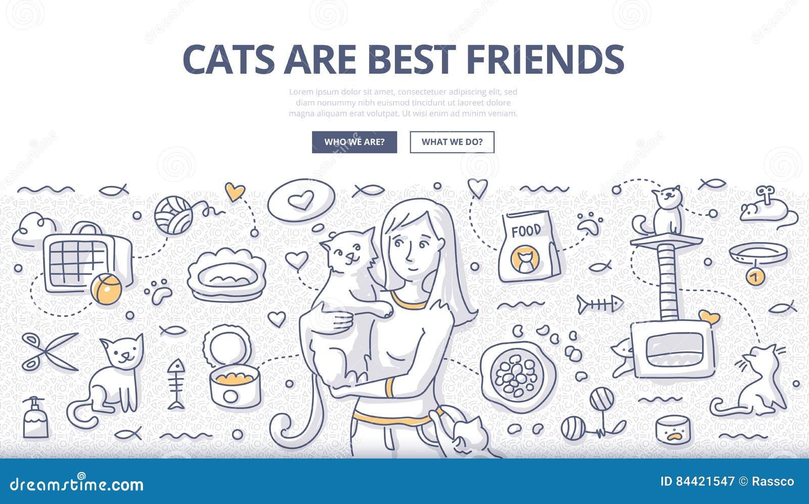 Kot opieki Doodle pojęcie