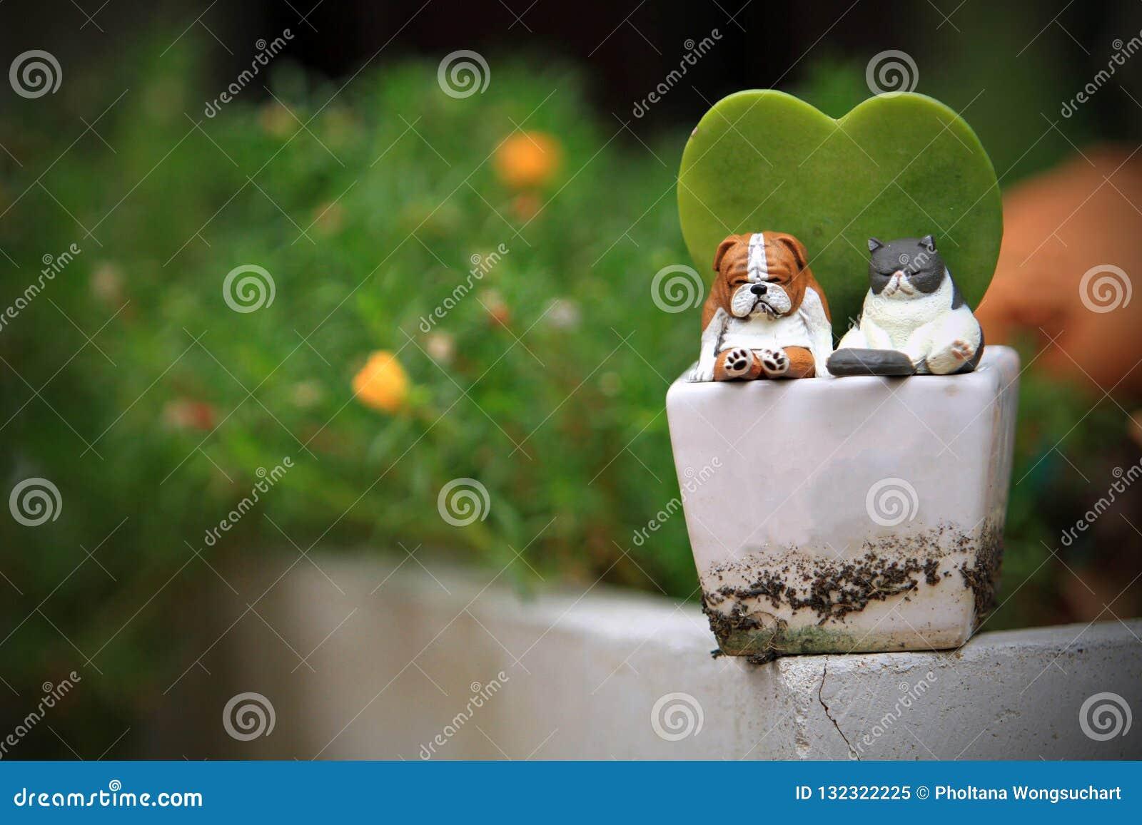 Kota i psa zabawki Na drzewnym garnku w ogródzie