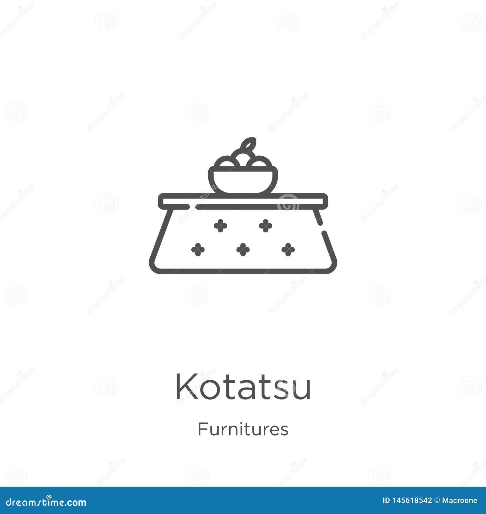 Kotatsu ikony wektor od furnitures inkasowych Cienka kreskowa kotatsu konturu ikony wektoru ilustracja Kontur, cienieje kreskoweg