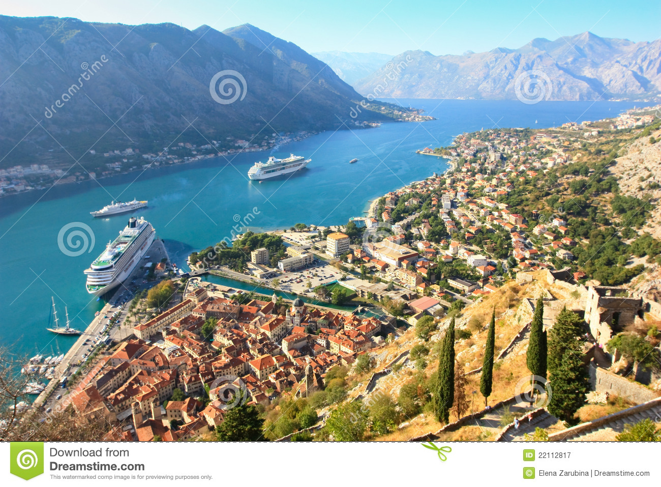 ... , the bay of Kotor with a big cruise ship at anchor in the waters
