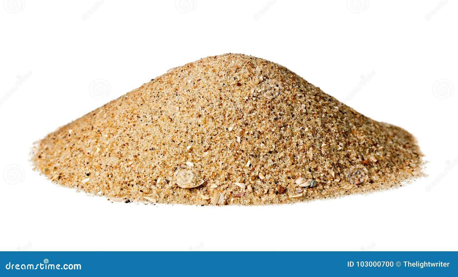 Kotte formad kulle av torr sand; isolerat på vit